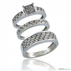 14k White Gold 3-Piece Trio His (6.5mm) & Hers (3.5mm) Diamond Wedding Ring Band Set w/ 0.328 Carat Brilliant Cut Diamonds