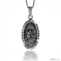 Sterling Silver Saint Christopher Pendant for Football, 1 3/8 in tall