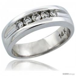 14k White Gold 5-Stone Ladies' Diamond Ring Band w/ 0.30 Carat Brilliant Cut Diamonds, 7/32 in. (5.5mm) wide