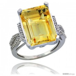 Sterling Silver Diamond Natural Citrine Ring 12 ct Emerald Shape 16x12 Stone 3/4 in wide