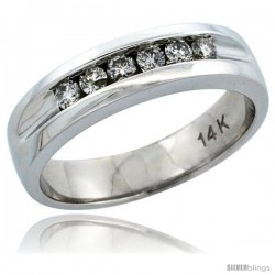 14k White Gold 6-Stone Men's Diamond Ring Band w/ 0.36 Carat Brilliant Cut Diamonds, 7/32 in. (5.5mm) wide
