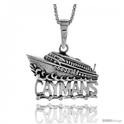 Sterling Silver CAYMAN Islands Cruise Ship Pendant, 1 1/4 in wide