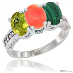 14K White Gold Natural Lemon Quartz, Coral Ring with Malachite Ring 3-Stone 7x5 mm Oval Diamond Accent