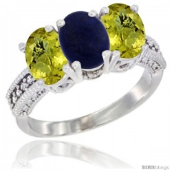14K White Gold Natural Lapis Ring with Lemon Quartz 3-Stone 7x5 mm Oval Diamond Accent