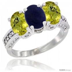 14K White Gold Natural Lapis Ring with Lemon Quartz 3-Stone 7x5 mm Oval Diamond Accent