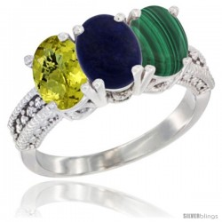 14K White Gold Natural Lemon Quartz, Lapis Ring with Malachite Ring 3-Stone 7x5 mm Oval Diamond Accent