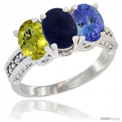 14K White Gold Natural Lemon Quartz, Lapis Ring with Tanzanite Ring 3-Stone 7x5 mm Oval Diamond Accent