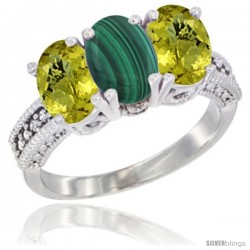14K White Gold Natural Malachite Ring with Lemon Quartz 3-Stone 7x5 mm Oval Diamond Accent