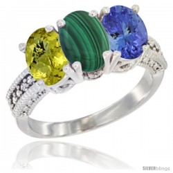 14K White Gold Natural Lemon Quartz, Malachite Ring with Tanzanite Ring 3-Stone 7x5 mm Oval Diamond Accent