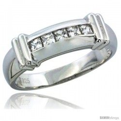 Sterling Silver Cubic Zirconia Mens Wedding Band Ring Channel Set Princess, 1/4 in wide