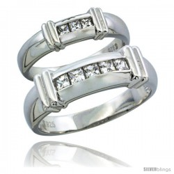 Sterling Silver Cubic Zirconia Wedding Band Ring 2-Piece Set 6.5 mm Him & Hers 5 mm Channel Set Princess