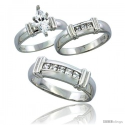 Sterling Silver Cubic Zirconia Trio Engagement Wedding Ring Set for Him & Her 6.5 mm Channel Set Princess, L 5 - 10 & M 8 - 14