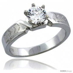 Sterling Silver Cubic Zirconia Solitaire Engagement Ring 1 ct size Brilliant cut Chevron Pattern, 3/16 in wide
