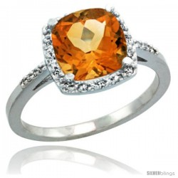 Sterling Silver Diamond Natural Citrine Ring 2.08 ct Cushion cut 8 mm Stone 1/2 in wide