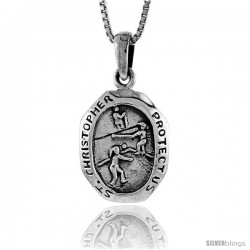 Sterling Silver Saint Christopher Pendant for Volleyball, 1 1/16 in tall