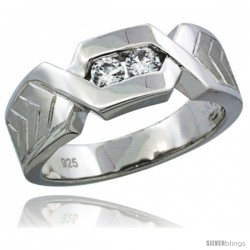 Sterling Silver Cubic Zirconia Mens Wedding Band Ring Chevron Pattern Channel Set, 9/32 in wide