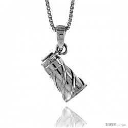 Sterling Silver Megaphone Pendant, 1/2 in
