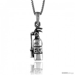 Sterling Silver Fire Extinguisher Pendant, 3/4 in