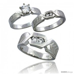 Sterling Silver Cubic Zirconia Trio Engagement Wedding Ring Set for Him & Her 7.5 mm Chevron Pattern Channel Set, L 5 - 10 & M