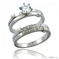 Sterling Silver Cubic Zirconia Ladies' Engagement Ring Set 2-Piece, 3/16 in wide