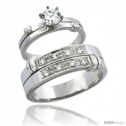 Sterling Silver Cubic Zirconia Engagement Rings Set for Him & Her 7mm Man's Wedding Band )