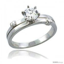 Sterling Silver Cubic Zirconia Solitaire Engagement Ring 1 ct size Brilliant cut, 3/16 in wide