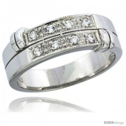 Sterling Silver Cubic Zirconia Mens Wedding Band Ring, 1/4 in wide
