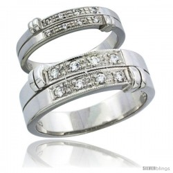 Sterling Silver Cubic Zirconia Wedding Band Ring 2-Piece Set 7 mm Him & Hers 4.5 mm