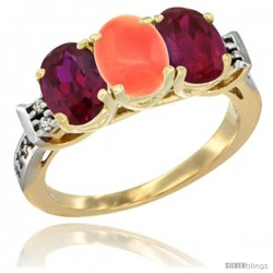 10K Yellow Gold Natural Coral & Ruby Sides Ring 3-Stone Oval 7x5 mm Diamond Accent