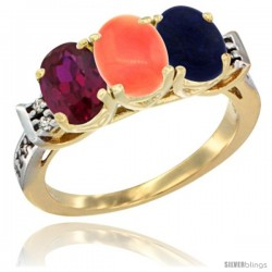 10K Yellow Gold Natural Ruby, Coral & Lapis Ring 3-Stone Oval 7x5 mm Diamond Accent