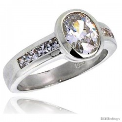 Sterling Silver 1.25 Carat Size Oval Cut Cubic Zirconia Bridal Ring