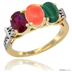 10K Yellow Gold Natural Ruby, Coral & Malachite Ring 3-Stone Oval 7x5 mm Diamond Accent