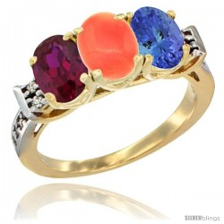 10K Yellow Gold Natural Ruby, Coral & Tanzanite Ring 3-Stone Oval 7x5 mm Diamond Accent