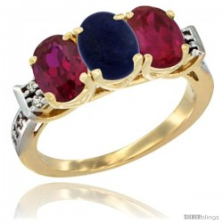 10K Yellow Gold Natural Lapis & Ruby Sides Ring 3-Stone Oval 7x5 mm Diamond Accent