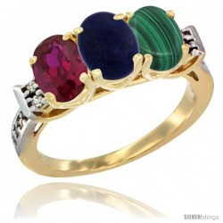 10K Yellow Gold Natural Ruby, Lapis & Malachite Ring 3-Stone Oval 7x5 mm Diamond Accent