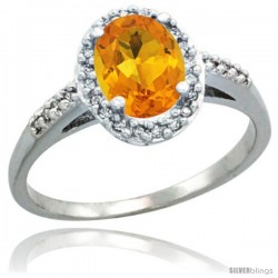 Sterling Silver Diamond Natural Citrine Ring Oval Stone 8x6 mm 1.17 ct 3/8 in wide