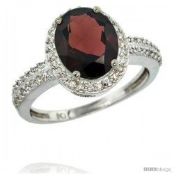 10k White Gold Diamond Garnet Ring Oval Stone 10x8 mm 2.4 ct 1/2 in wide