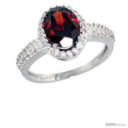 10k White Gold Diamond Garnet Ring Oval Stone 9x7 mm 1.76 ct 1/2 in wide