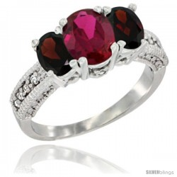 10K White Gold Ladies Oval Natural Ruby 3-Stone Ring with Garnet Sides Diamond Accent
