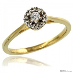 14k Gold Round Diamond Engagement Ring w/ 0.112 Carat Brilliant Cut Diamonds, 1/4 in. (6mm) wide