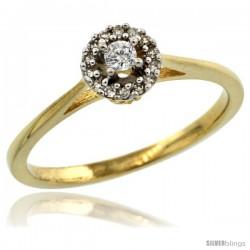 14k Gold Round Diamond Engagement Ring w/ 0.112 Carat Brilliant Cut Diamonds, 1/4 in. (6mm) wide