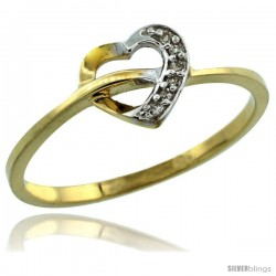 14k Gold Heart Cut Out Diamond Engagement Ring w/ 0.022 Carat Brilliant Cut Diamonds, 1/4 in. (7mm) wide