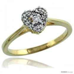 14k Gold Heart-shaped Diamond Engagement Ring w/ 0.086 Carat Brilliant Cut Diamonds, 1/4 in. (6.5mm) wide
