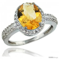 Sterling Silver Diamond Natural Citrine Ring Oval Stone 10x8 mm 2.4 ct 1/2 in wide