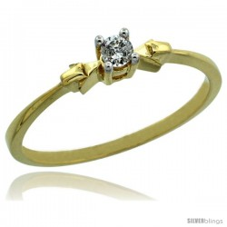 14k Gold Solitaire Diamond Engagement Ring w/ 0.077 Carat Brilliant Cut Diamond, 1/8 in. (3mm) wide