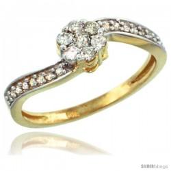 14k Gold Flower Cluster Diamond Engagement Ring w/ 0.28 Carat Brilliant Cut Diamonds, 1/4 in. (6mm) wide