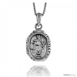 Sterling Silver Saint Christopher Pendant for Gymnastics, 1 1/16 in tall