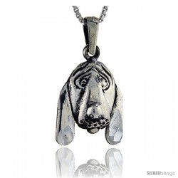 Sterling Silver Dog Head Pendant, 1 1/8 in tall