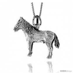Sterling Silver Solid 3-Dimensional Horse Pendant, 1 1/16 in wide