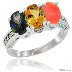 14K White Gold Natural Mystic Topaz, Citrine & Coral Ring 3-Stone 7x5 mm Oval Diamond Accent
